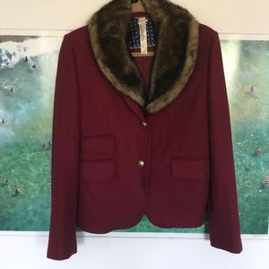 Red Wool Blazer with Removable Fur Collar